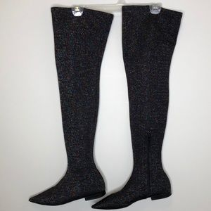 ZARA multicolour glitter knit over the knee boots